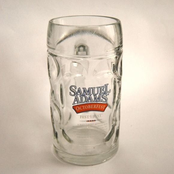 Octoberfest Seasonal Brew Glass Beer Mug Steins Pair of Samuel Adams 16 oz
